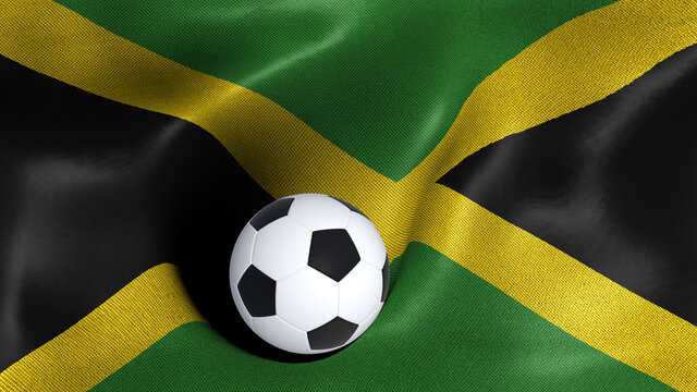 3D rendering of the flag of Jamaica with a soccer ball