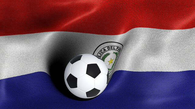 3D rendering of the flag of Paraguay with a soccer ball