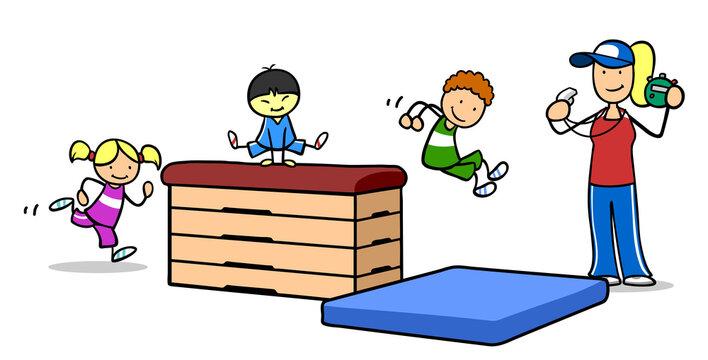 Trainer beim Kinderturnen am Sprungkasten mit Kindern