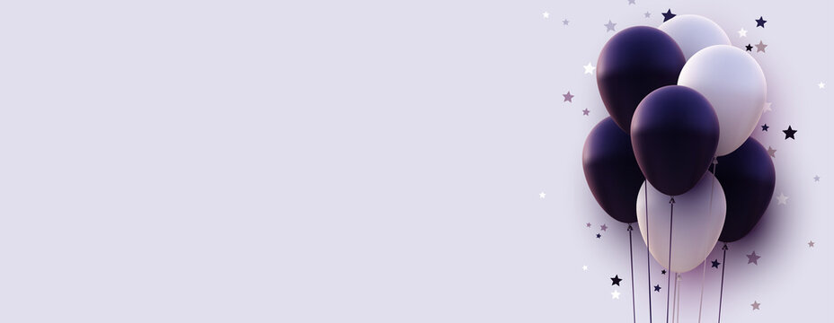 Matt dark violet and white balloons with threads on white background.