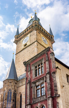 City Hall tower on Old Town square, Prague, Czech Republic