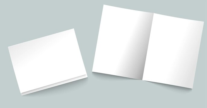White sheets of A4 paper, folded in half. Simple, isolated, blank white page layout. Vector illustration on a gray background.