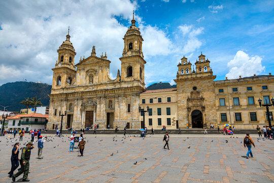 BOGOTA,COLOMBIA/MARCH 15,2018:Cathedral of Bogota in Bolivar Square