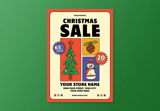 Doodle Christmas Sale Flyer Layout