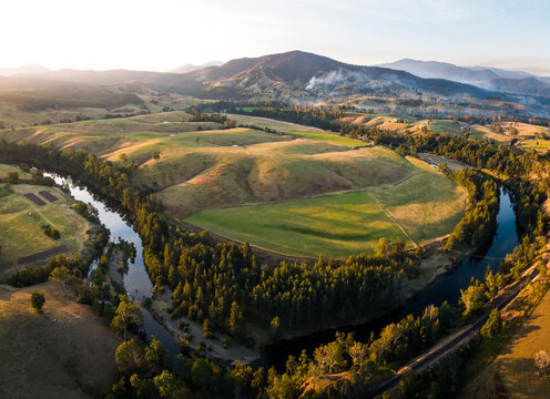 Elevated view of rural agricultural land and waterways