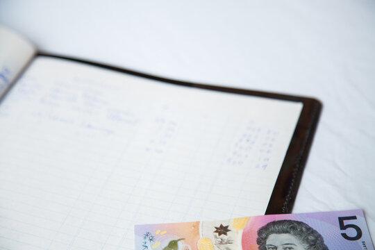 Australian dollar notes on childs budget ledger