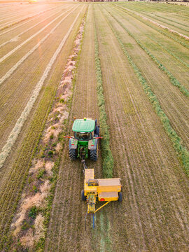 Aerial view of a tractor collecting rows of feed in a paddock