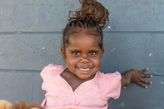 Smiling 3yo Aboriginal girl