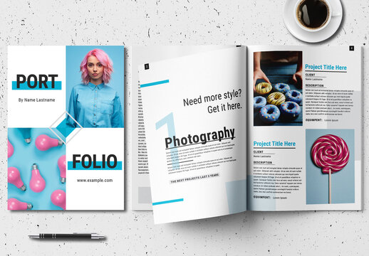 Portfolio Layout with Blue Accents