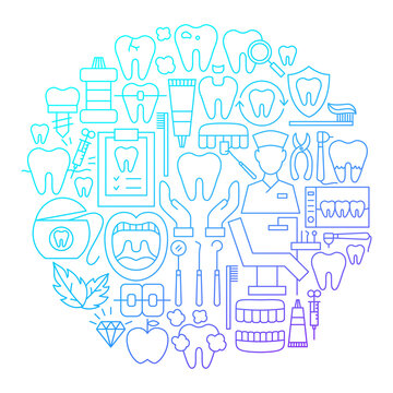 Dentist Line Icon Circle Design