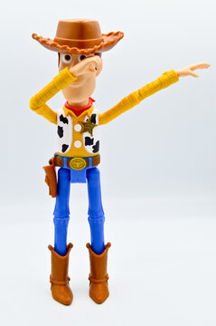 Istanbul Turkey August 04 2019: Disney Infinity characters from the movie Toy Story Woody's shot out for a moment in my studio. Toy story Woody character