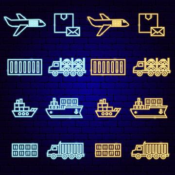 Cargo Shipping Transport Neon