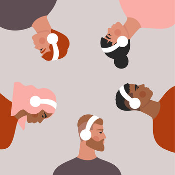 People in headphones. Set of men and women listening to music, podcast, audio book. Isolated flat vector illustration with group of young people drawn in trendy style