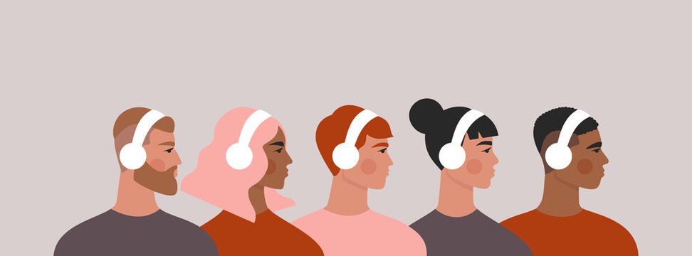 People in headphones. Set of men and women listening to music, podcast, audio. Isolated flat vector illustration with group of young people drawn in trendy style