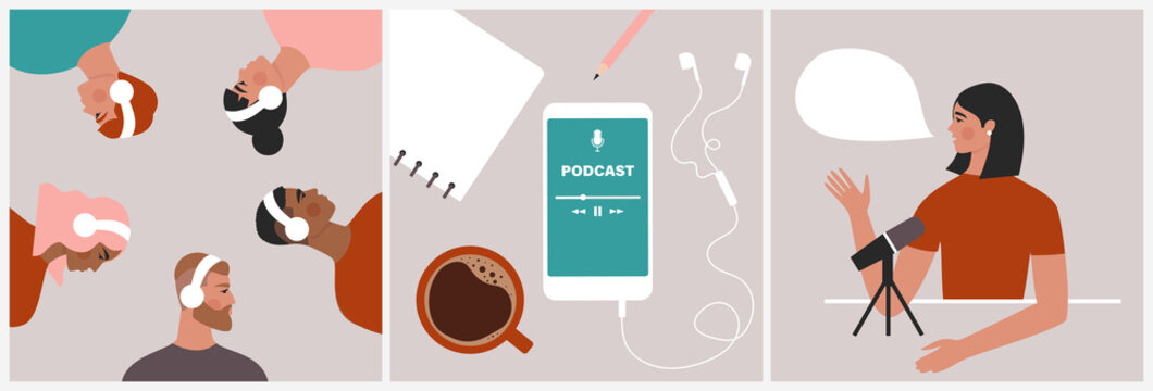 Podcast concept. Set of illustrations about podcasting. People listening to audio in headphones, podcast app on smartphone, podcaster speaking in microphone. Flat vector in trendy style