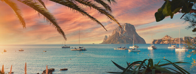 Fototapeta Cala d'Hort beach at sunset. Ibiza Island