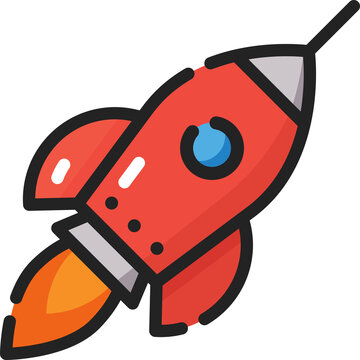 Rocket Spaceship Filled Outline Icon