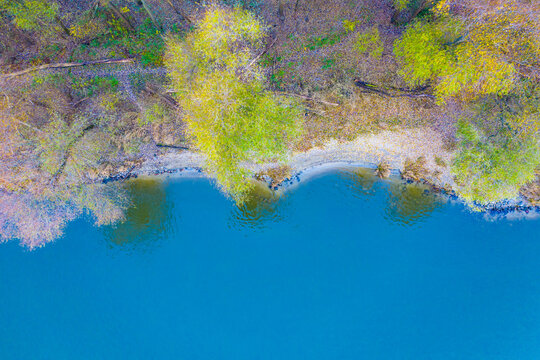 Aerial perspective of autumn forest and creek, Lake of the Clouds,  Wilderness