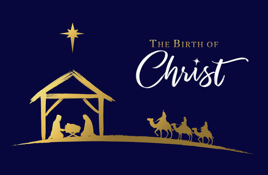 The birth of Christ, Nativity scene of baby Jesus in the manger. Holy family, three wise kings and star of Bethlehem, banner design. Vector Christmas golden illustration silhouette Mary and Joseph