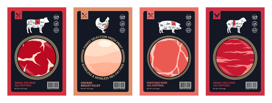Vector butchery labels for groceries, meat stores, packaging and advertising. American (US) cuts of beef, chicken, pork and lamb diagrams