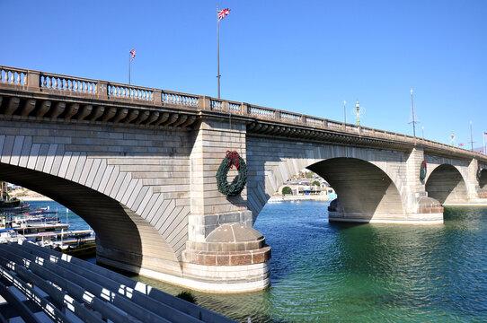 View of historic London Bridge in Lake Havasu City, Arizona.