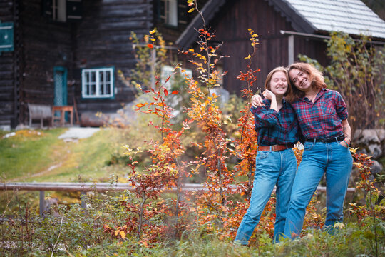 happy girls in the mountains