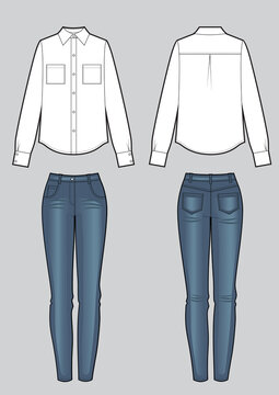 Women's clothing set of blouse and blue skinny jeans. Vector templates in front, back views for fashion design.