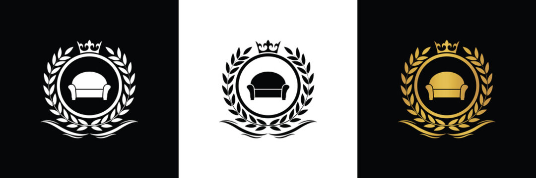 furniture logo template luxury royal vector company decorative emblem with crown