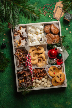 christmas cookies box on green background