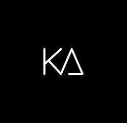 Obraz Letter KA alphabet logo design vector. The initials of the letter K and A logo design in a minimal style are suitable for an abbreviated name logo. - fototapety do salonu