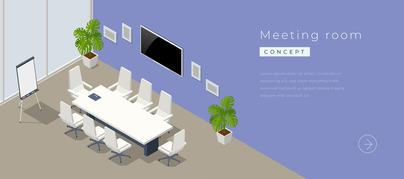 Isometric modern meeting room interior with empty poster on concrete wall, equipment.