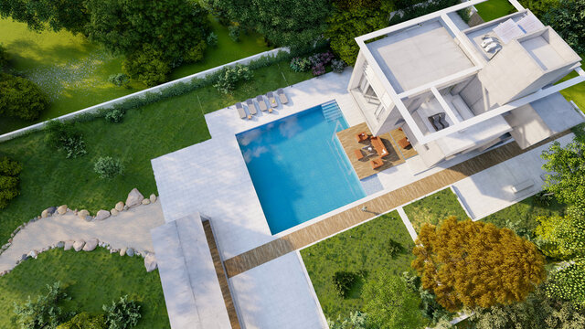 Aerial view of Modern house with lounge area by the pool