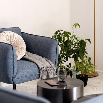 Modern blue armchair, close-up