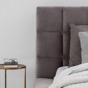 Bed and bedside table, close-up