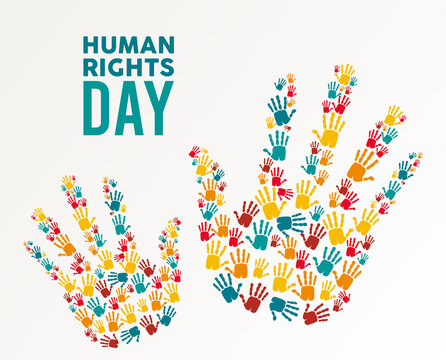 human rights day poster with hands colors print
