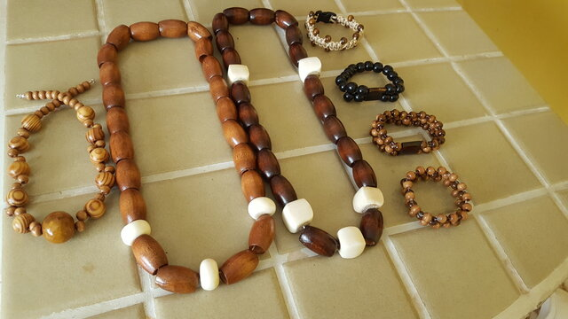 African wooden beaded jewelry.