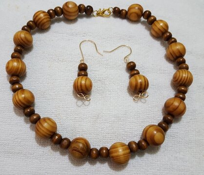 Brown, African wooden beaded necklaces and earring handmade jewelry set.