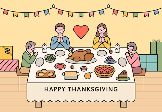 Families are sitting around a table on Thanksgiving and praying. flat design style minimal vector illustration.