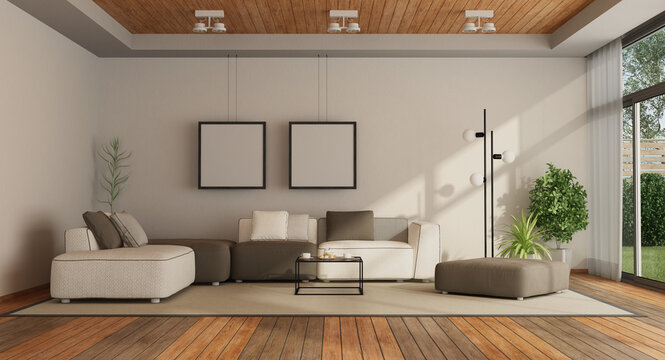 Empty Furniture In Living Room At Home