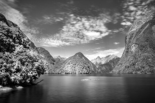 Incredible scenery in black and white at Deep Cove in the fjord at Doubtful Sound where you can enjoy a cruise or water sports in the almost untouched wilderness in New Zealand, South Island.