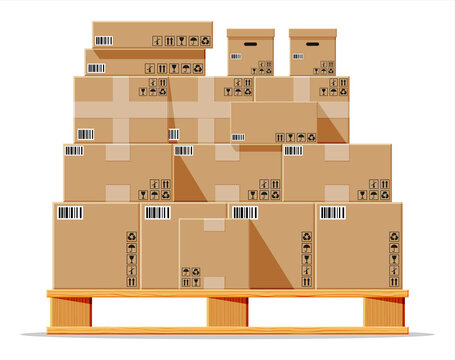 Cardboard boxes pile on wooden pallet isolated on white. Carton delivery packaging closed, sealed, cubic, big and small box with fragile signs. Vector illustration in flat style