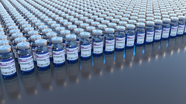 Many bottles with bottle of COVID-19 vaccine in a row. 3d illustration