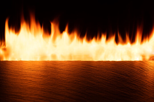 Empty slate table top with orange fire
