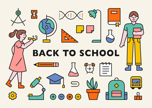 Student character and school supplies icon collection. flat design style minimal vector illustration.