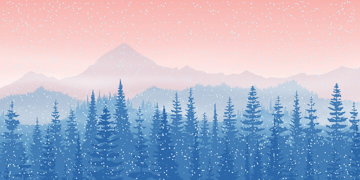 Dawn in the mountains, winter morning. Forest, peaks in the haze. Vector landscape.