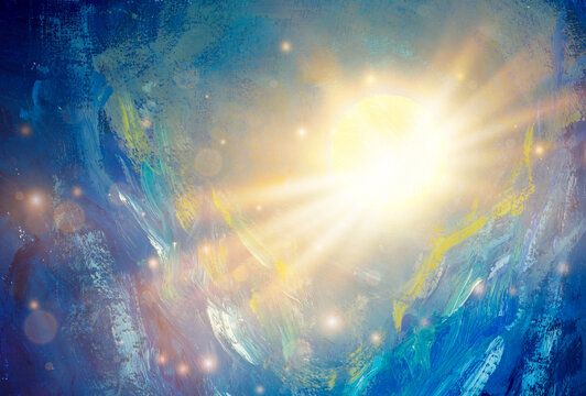 Cosmos oil painting beautiful large glowing planet moon in rays of sun concept art. Fantasy abstract blue mountains space universe painting artwork for book illustration poster