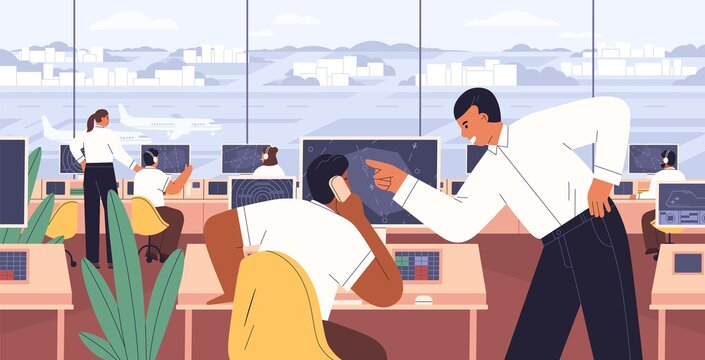 Team of flight management working inside airport control tower with computer navigation system. Air traffic controllers monitoring and supervising international terminal. Flat vector illustration