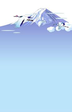 富士山と鶴の風景