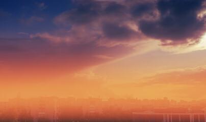 Fotobehang - Epic sunset sky storm clouds backgrund