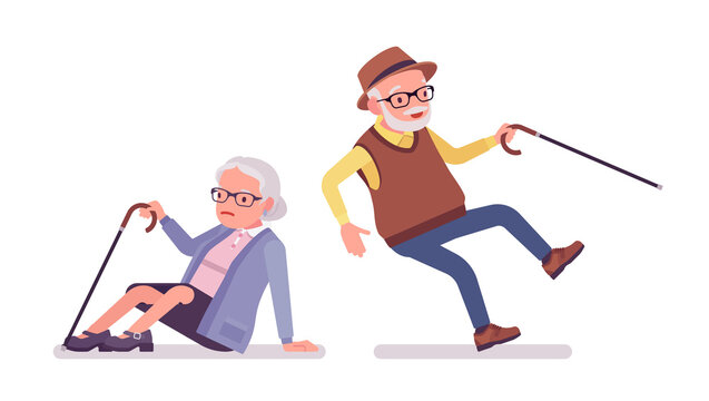 Old people, elderly man, woman in slip and fall accident. Senior citizens, retired grandparents, old-age pensioners with disabilities. Vector flat style cartoon illustration isolated, white background